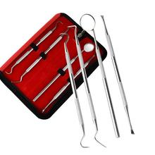 Pro Stainless Steel Dental Tool 4pcs Dentist Sets Teeth Clean Hygiene Explorer Probe Hook Oral Care Kits Teeth Whitening A2