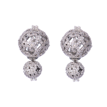HIBRIDE Jewelry Luxury Design AAA Cubic Zirconia Ball Shape Double Sites Stud Wedding Jewelry Earrings For Gifts E-155(China)