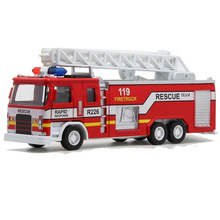 Alloy Pullback Toy Fire Truck Model, with Light Siren Music ,80% Alloy(China)