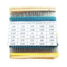 1500pcs/lot 30 values X 50pcs 1% 1/4 W resistor pack use a colored ring resistance (10 ohms ~ 1 M ohm) each value 50pcs