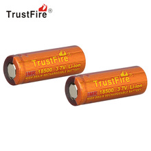 2pcs TrustFire 3.7V 1100mAh IMR 18500 Rechargeable Battery High Magnification Li-ion Lithium Battery for LED Flashlight Headlamp(China)