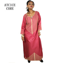 AFRICAN NEW FASHION DESIGN BAZIN EMBROIDERY DESIGN DRESS LONG DRESS WITHOUT SCARF TRA068#(China)