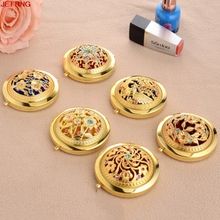JETTING-7cm  Fashion Golden Metal Diameter Folding Pocket Mirror Fashion Bling Cosmetic Mini Mirrors Makeup Beauty Tool