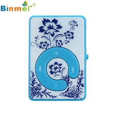 Gift 100% Brand New 2017 Mini Clip Flower Pattern MP3 Player Music Media Support Micro SD TF Card Wholesale Price_KXL0601