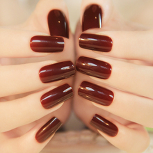 2016 New Hot 24PCS French High Light Texture Color Full Cover Nails Tips Special Brown Red Long Square False Nails