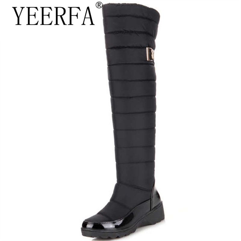 Russia winter boots women warm knee high boots round toe down fur ladies fashion thigh snow boots shoes waterproof botas<br>
