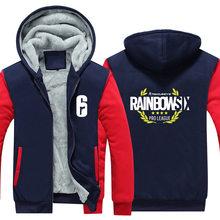 Men Women Unisex Rainbow Six Siege Hoodies Zipper Sweatshirts Jacket Winter Warmth Thicken Hooded Coat USA Size