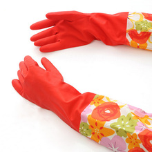 0 Hot Sale Waterproof Household Glove Warm Dishwashing Glove Water Dust Stop Cleaning Rubber Glove