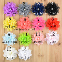 20pcs fabric flower embellishment DIY crafts chiffon flower with pearl,hair accessories making headbands flower hair clips(China)