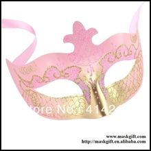 Hot Sell 2016 Party Suppliers Baby Pink Gold Venetian Masquerade Party masks Free Shipping A0002-PKG