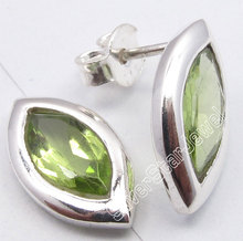Pure Silver REAL PERIDOT GEM STONE Cute Lightweight s Post Earrings 1.5CM1 Pair of  Earring