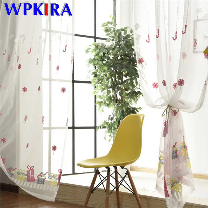Modern Cartoon Candy Pattern Embroiderd Tulle Curtain For Baby Girl Bedroom Sheer Voile Curtain For Living Room Organza FQ017D3