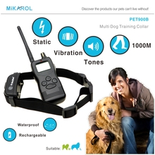1000M Remote Control Dog Training Collar Rechargeable Waterproof Pet Training Collar Electric Dog Trainer Shock Collar with LCD