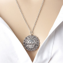 NK302 New Vintage Men Chain Collar Pirates of Caribbean Skull Pendants Necklaces Women Gold Coin Skull Jewelry Girl Gift Collier