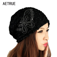Beanies Knitted Winter Hat Warm Caps Winter Hats For Women Ladies Casual Brand Butterfly Skullies Beanie Lace Mask New 2017 Cap(China)