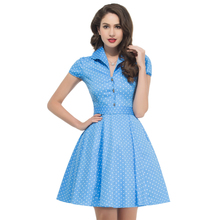 2017 Summer Style 50s Vintage Retro Rockabilly Dresses Swing Womens Casual Party Picnic polka dot Plus Size 60s clothing 6089(China)