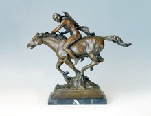 ATLIE BRONZES Classical Arts man sculpture horseback riding Bronze Statues antiques sculptures knight Home Decoration(China)