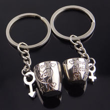Creative Romantic Couple Cups Keychain for Lovers Metal Keychain Wedding Gifts Wholesale 2Pcs/Pair