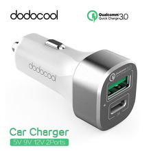 dodocool Qualcomm Quick Charge 3.0 9V 12V USB-C 5V 2 Port USB Car Charger For Apple iPhone HTC Samsung Note LG Xiaomi Tablet(China)