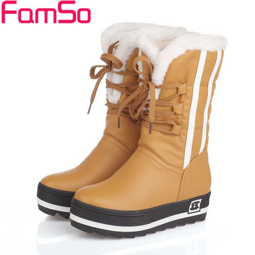 Plus Size34-43 2017 New Shoes Women Boots black Waterproof Platforms Shoes 4 Colors Winter Full Fur  Womens Snow Boots SBT1672<br><br>Aliexpress