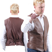 Vest Leather Waistcoat Men's Genuine Retro Classic Motorcycle The wind Environmental Protection  leather WOMen's Western Cowboy*