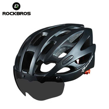 ROCKBROS Bicycle Helmet With Lenses Windproof Men Integrally-molded 28 Vents Mountain Road MTB Bicycle Helmet Casco Ciclismo(China)