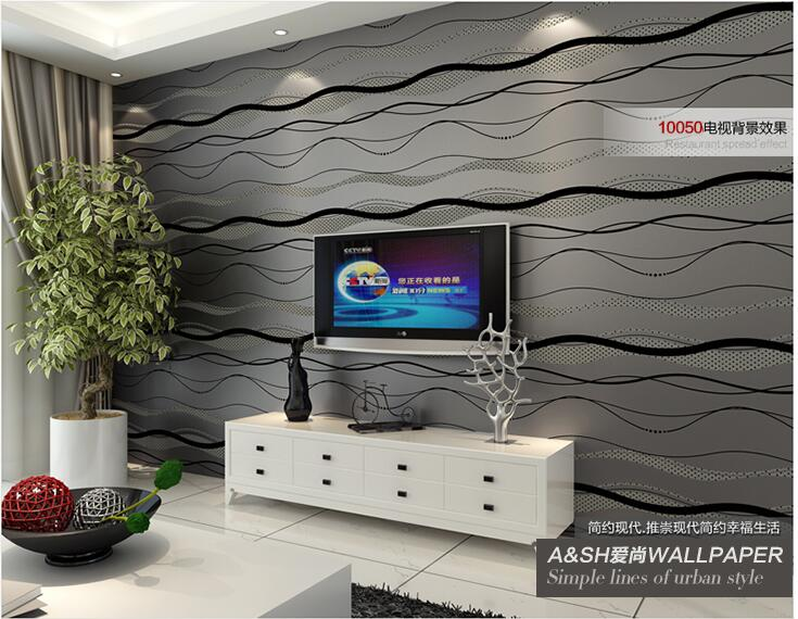 High-End Luxury wall paper Simple Style Waves Stripes papel de parede Embossed Textured Flocking Wallpaper 1005<br>