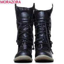 MORAZORA 2017 new fashion motorcycle ankle boots for women,Autumn winter snow boots pu leather flats shoes plus size 34-46