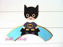 Free Shipping big Batman cupcake wrappers toppers picks decorations for boys kids birthday party supplies comic superhero supply