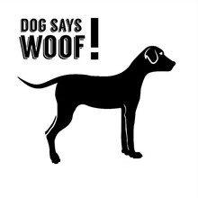 The Second Half Price FUNNY Dog Says Woof car sticker 14*14cm Car Styling Motorcycle sticker Car Accessory car decors decal(China)