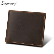 Buy Slymaoyi 100% Genuine Crazy Horse Cowhide Leather Men Wallets Vintage RFID Dollar Purse Carteira Masculina Mens Purse Wallet for $13.04 in AliExpress store