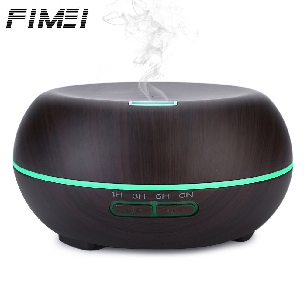 Fimei Essential Oil Diffuser 200ml Air Humidifier Wood Grain Aroma Diffuser Mist Maker Color Changing LED Lights electric<br>