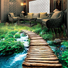Custom Photo Floor Wallpaper Mural PVC Waterproof 3D Wallpaper Green Forest Design(China)