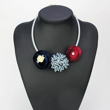 Handmade Red Grey Blue Fabric Flower Choker Necklace Fashion Indian Jewelry New 2016 Pendant Girl Woman Accessories Xmas Gift