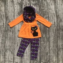 new arrival Halloween FALL/Winter baby girls outfits 3 pieces scarf purple orange top cat print  pant boutique children clothes