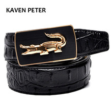 2017 Crocodile Pattern Belt Fashion Luxury Alligator Automatic Buckle Belts Without Buckle Tooth On Strap Novelty Men's Belt(China)