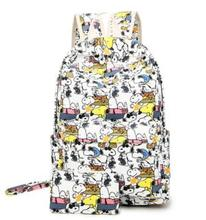 2Bags/set Kawaii Snoopie Cartoon Dogs Student School Backpack /Coin pocket Canvas Travel Bags Kids Christmas Gifts