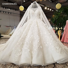 Buy LS9879 2018 ball gown wedding dress hand working flowers o neck long sleeves bridal wedding gowns long train photos for $868.01 in AliExpress store