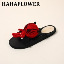 HAHAFLOWERSexy Lady Flat Sandals Summer Shoes Women big  A doll Flats Flip Flop  Beach Female Footwear Girl best Birthday Gift
