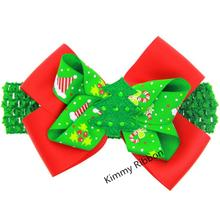 100pcs/lot  Girl Christmas Gift Hair Bows with Crochet Headbands  Christmas Tree Hairbow
