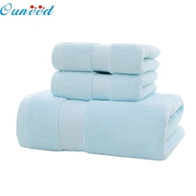 My House New 3PC Soft Cotton Absorbent Terry Luxury Hand Bath Beach Face Sheet Towels 2017 New Hot Sell 17Mar9(China)