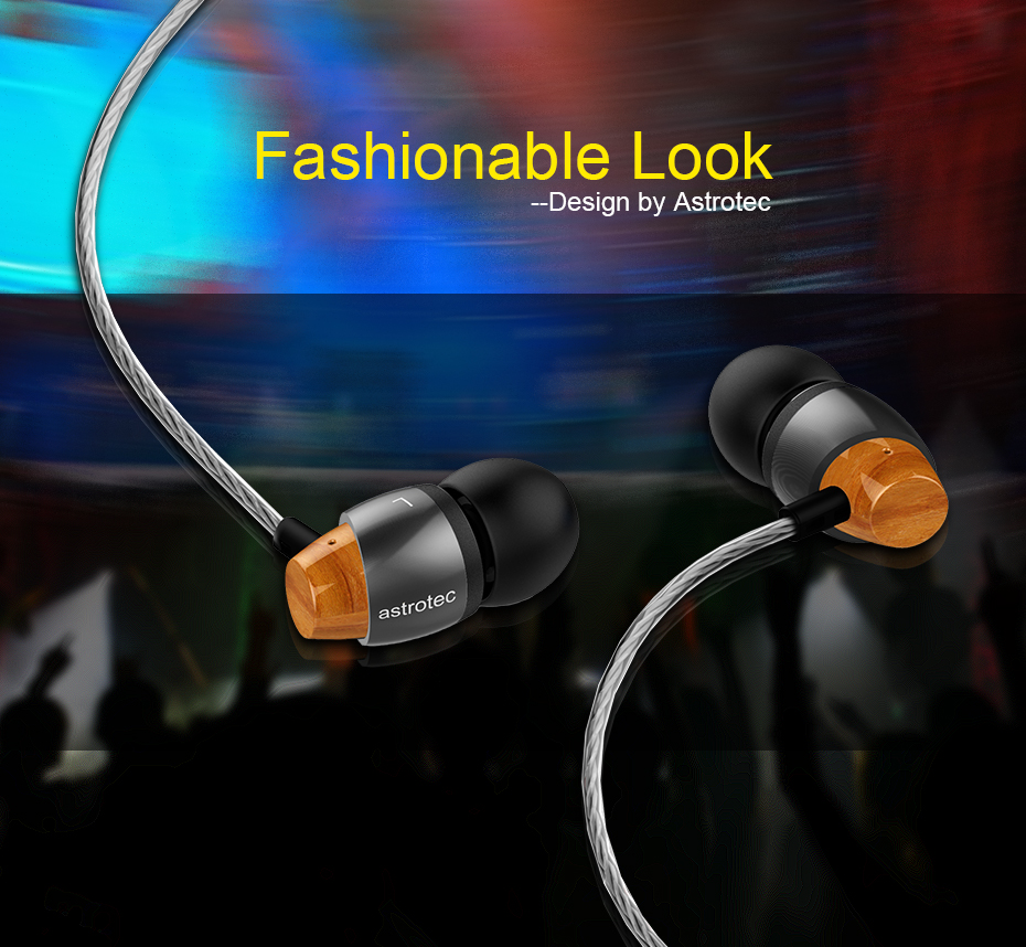 Astrotec AM800 Premium HIFI Stereo Earphone Dynamic Wood-Metal In-Ear Airpods Earpods Earbuds for iPhone Samsung Xiaomi Phone