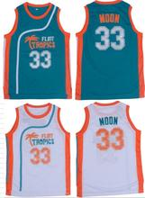 Jackie Moon Flint Tropical Throwback Jerseys 33# Retro Basketball Movie Jersey Cool Shirt Stitched Jersey Man White Green