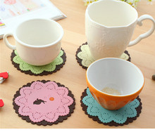 Animal lace carve patterns or designs on woodwork soft rubber cup mat Cute cartoon heat insulation bowl MATS Cup mat eat mat