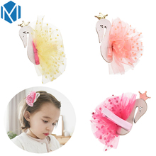 MISM Pretty Swan Hairpins Children Cute Lace Hairgrips Headwear Girl Mesh Clips Hair Accessories Sweet Kids Headdress Hair Clasp