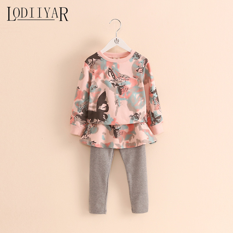 Baby Girls Clothing Sets Long Sleeve Pullover + Leggings 2017 Autumn Winter Printed Flowers Cotton Children Clothes<br><br>Aliexpress