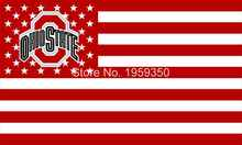 Ohio State Buckeyes With Modified US Flag 3ft x 5ft Polyester NCAA banner white sleeve with 2 metal Grommets 90x150cm(China)