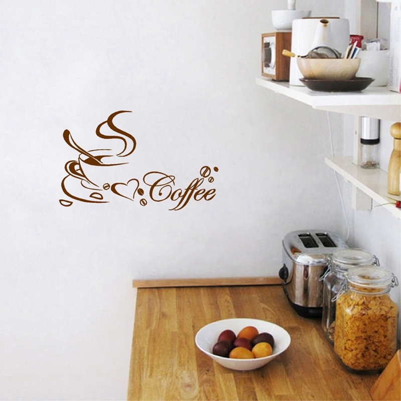 Free shipping wall stickers Coffee cup , Vinyl coffee wall art decals home kitchen decor 2