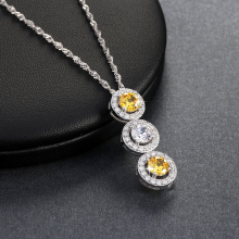 ORSA JEWELS 3 Pieces 0.8 ct AAA Clear&Yellow Cubic Zirconia Connected Pendants Necklace Silver Color Necklaces for Girl ONW97