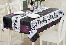 PVC Waterproof and Oilproof Purple Flower 3 Color Stitching Tablecloths for Restaurant Home Outdoor Hotel Table Cloth Bar Cloth